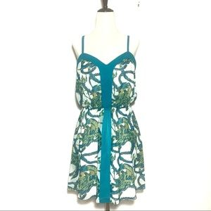 Bebe Mini Dress Teal Dragon Wings Print Small